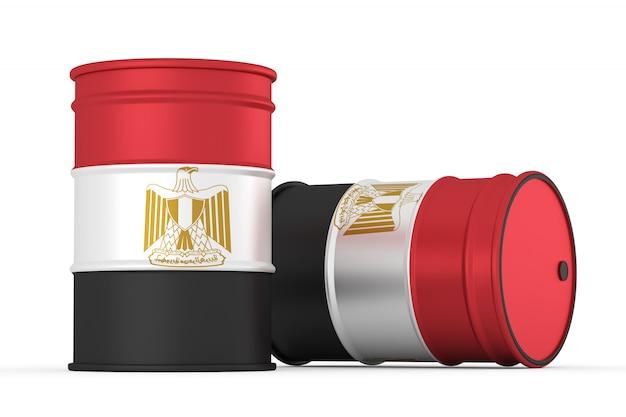 白で隔離されるエジプトの石油バレル