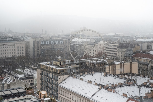冬のブダペストのパノラマ