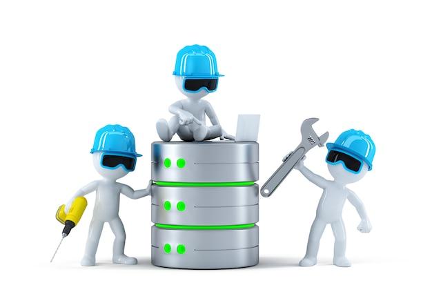 Группа техников с базой данных. концепция технологии