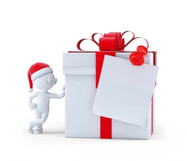 空白のカードとクリスマスギフトボックス