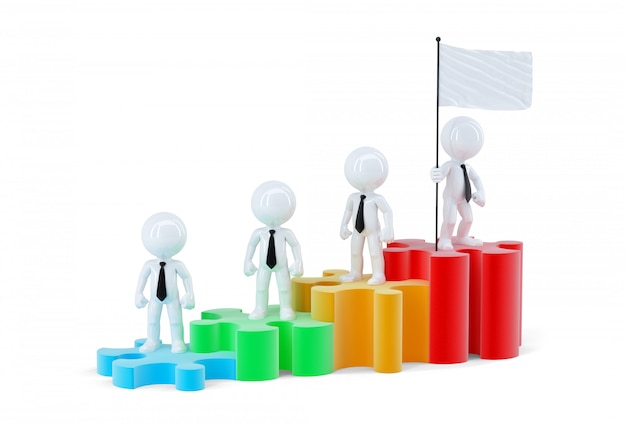 Бизнес-команда, стоящая на графике баров. изолированные. содержит обтравочный контур сцены и флаг