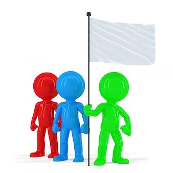 Команда цветных людей, занимающих флаг. изолированные. содержит обтравочный контур
