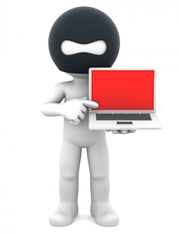 ラップトップを持つ危険なハッカー