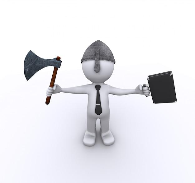 斧とケースを持つ積極的な企業労働者
