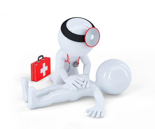医者が応急処置を提供する