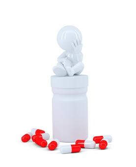 Подавленный человек, сидящий сверху коробки с таблеткой