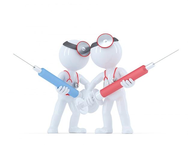 Врач со шприцем. концепция медицинских услуг.