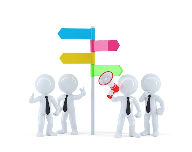 Бизнес-команда перед указателем направления. бизнес-концепция