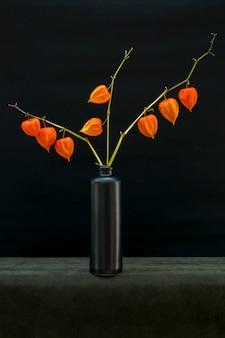 黒い瓶の中のサイサリスの枝のある静物
