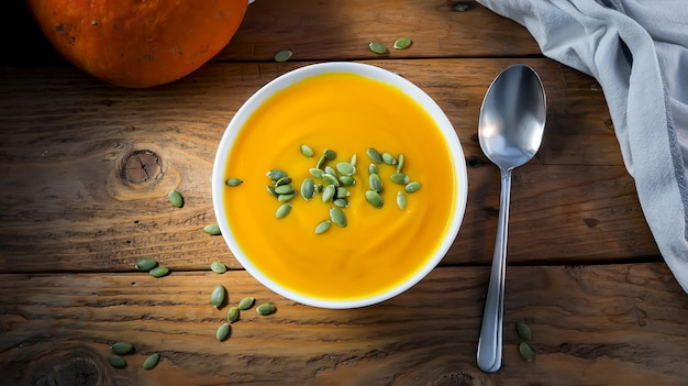 種子と秋のベジタリアンカボチャクリームスープ。上面図