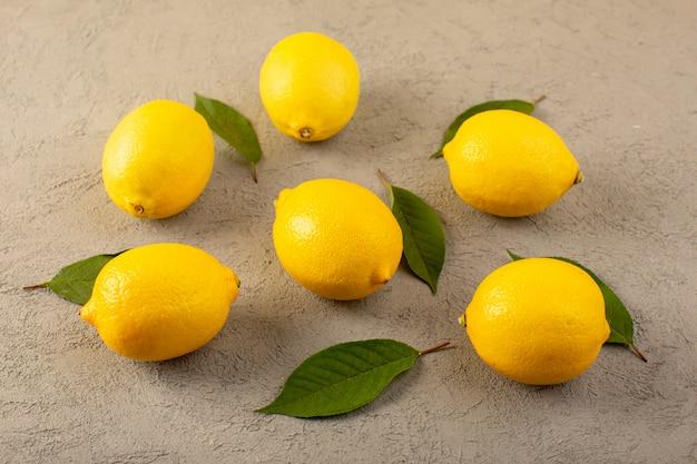 Спереди закрытый вид желтых свежих лимонов спелых сочных спелых с зелеными листьями, выложенными на сером