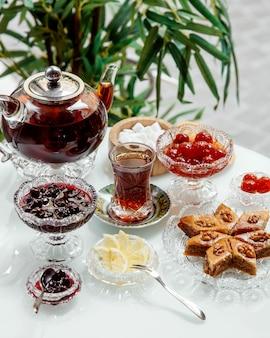 Пахлава и фруктовое варенье с черным чаем