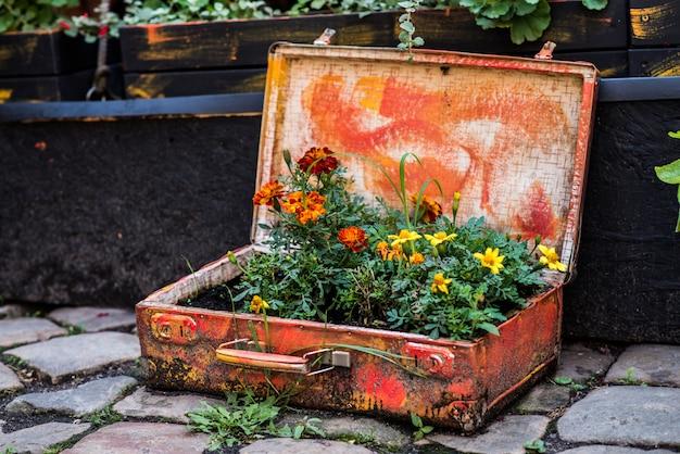 屋外の花を持つ古いスーツケース。