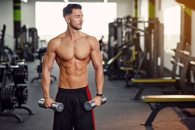 ジムで手と肩のトレーニング中にダンベルでワークアウト裸の胴体を持つフィットネス男。スポーティで健康的なコンセプト。