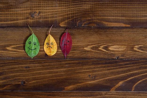 幸せ、悲しい絵文字と緑、黄色、赤の落ち葉