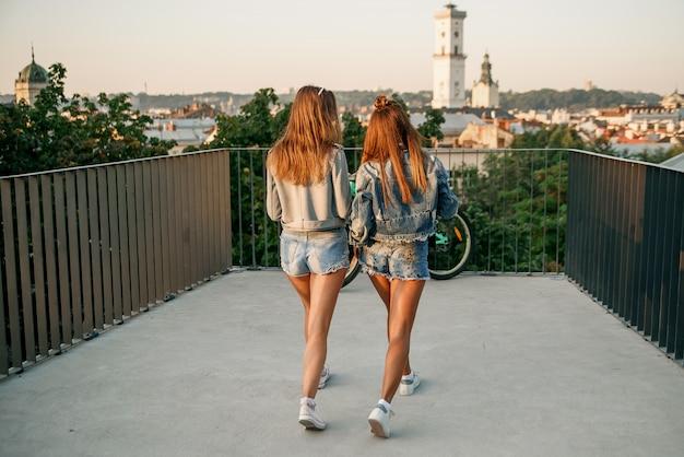Портрет вид спереди двух счастливых друзей, ходить и говорить на закате в парке