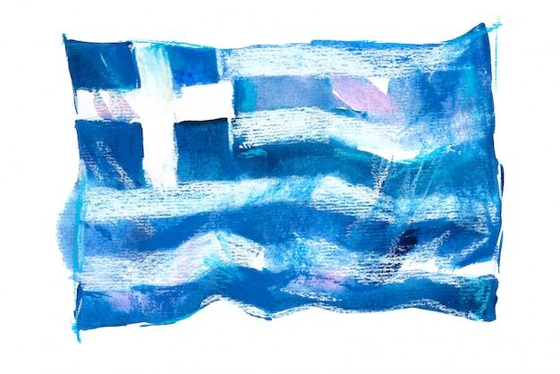 水彩で描かれたギリシャの旗