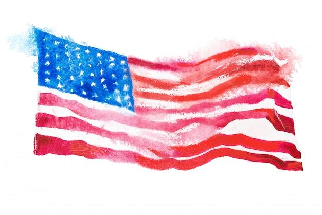 水彩絵の具で描かれたアメリカ合衆国の旗