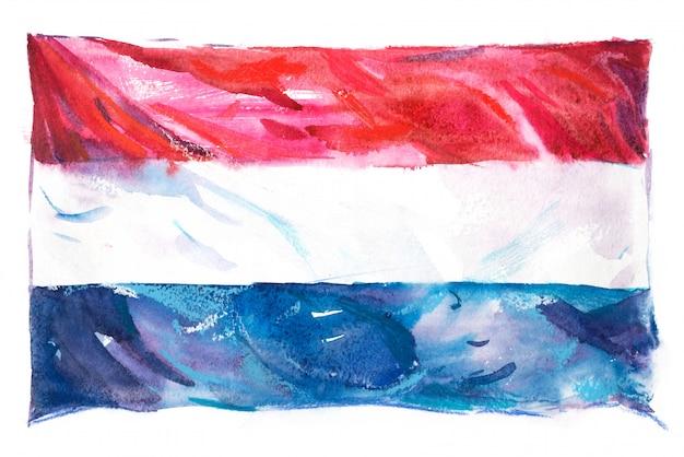 水彩で描かれたオランダの旗
