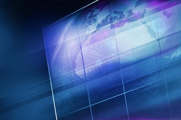 Земной шар внутри большого плоского экрана телевизора с сеткой