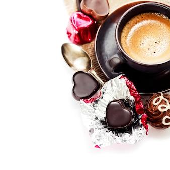 バレンタインデーのチョコレートとコーヒー