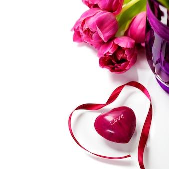 ピンクのチューリップバレンタインの日