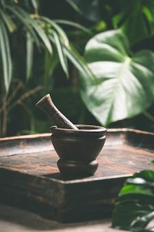 乳鉢と乳棒、熱帯のシーンで、クローズアップ