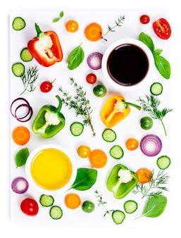 新鮮な有機野菜、トップビュー