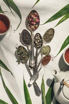 お茶の種類が異なるスプーン