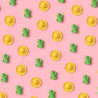 ピンクのソンブレロとサボテンパターン。クリエイティブメキシコ