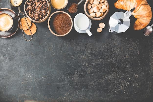 暗いコーヒー組成。平置き