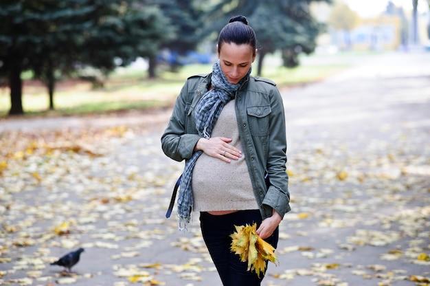 ヤンとかわいい妊婦が秋の背景に一人で歩く