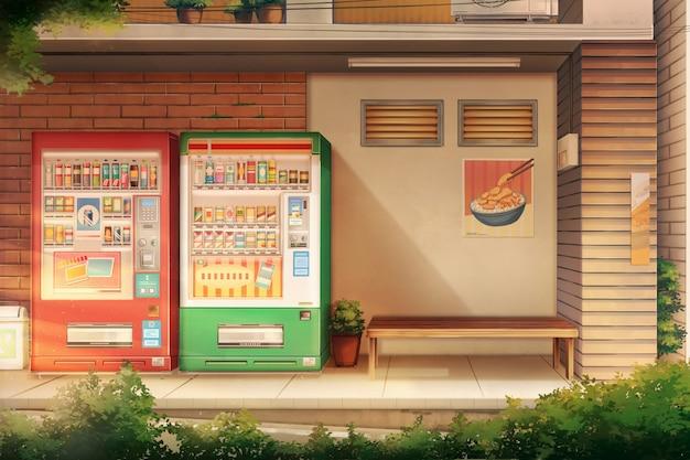静かな路地と自動販売機の水-午後。