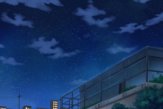 空とデッキ-夜。