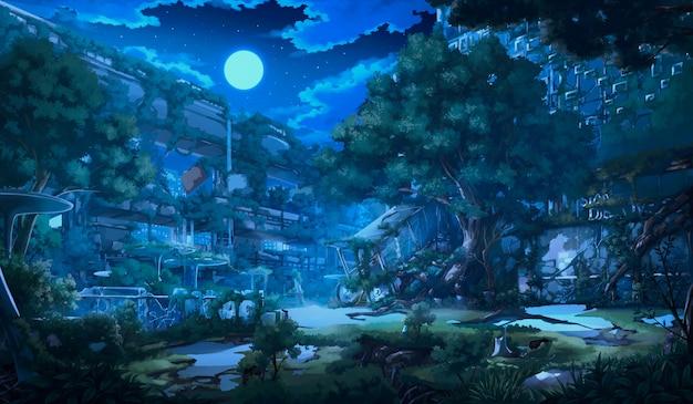 Фэнтези заброшенный город - ночь.