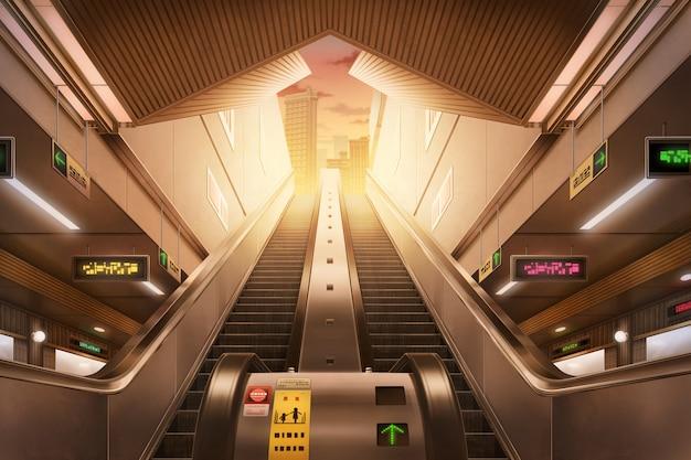 地下鉄駅-午後