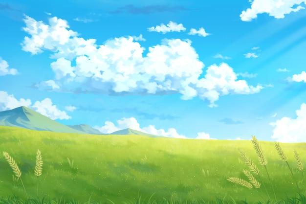 日空雲-アニメ背景。