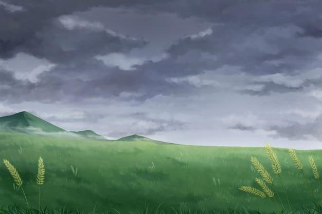 どんよりした雲-アニメ背景。