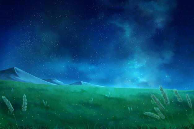 夜空の雲-アニメ背景。