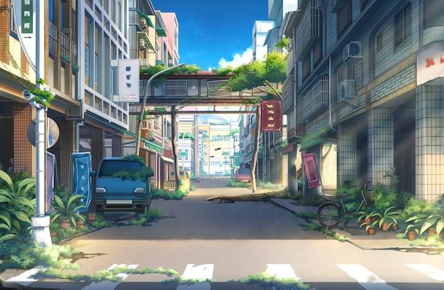 放棄された町-日。