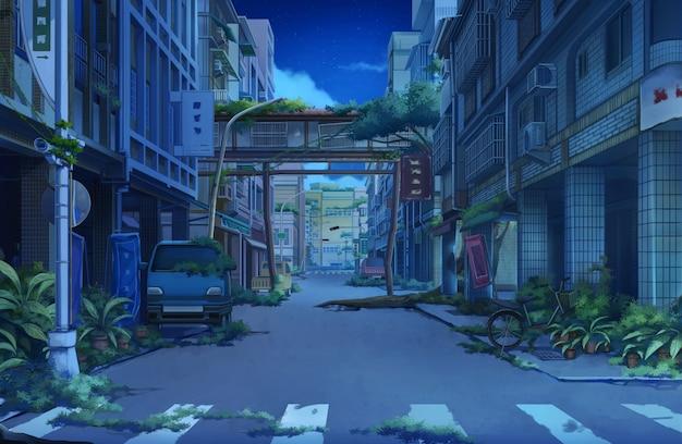 放棄された町-夜。