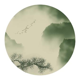 Туман китайские облака пейзаж графика