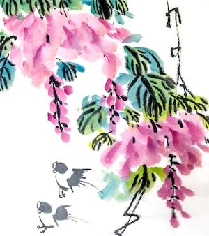 Растительный цветок фон красный розовый китайский