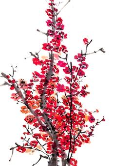 Птица слива традиционный фон японский сезон