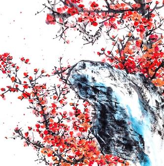 Дерево традиция фон природа художественная птица