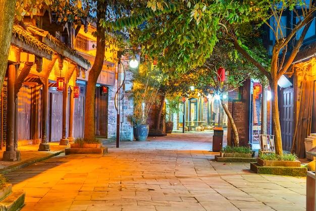 中国四川省成都古代都市の夜景