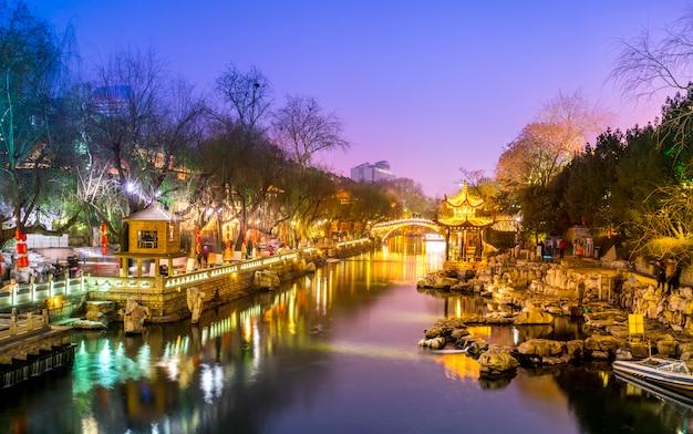 済南、山東省の美しい都市夜景建築景観
