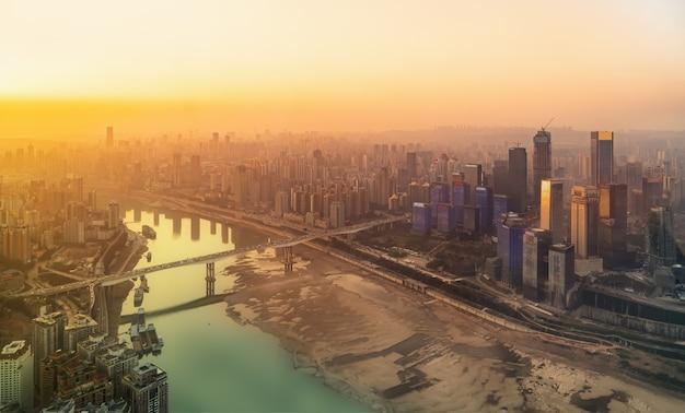 空中写真重慶市建築スカイライン