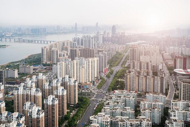 Городской пейзаж нового района наньчан, цзянси, китай