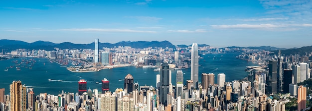 香港、中国の美しい街のスカイライン